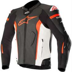 Alpinestars Missile Leather Jacket Airbag Compatible - Black White Red