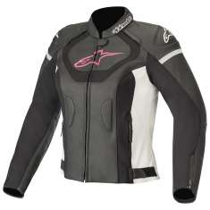 Alpinestars Jaws V3 Leather Jacket Ladies - Black White Pink