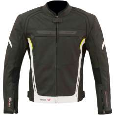 Merlin Luna Leather Jacket Airbag Compatible - Black White Yellow