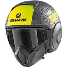 Shark Street Drak Tribute RM MAT AYK Helmet - Anthracite Yellow Matt Black