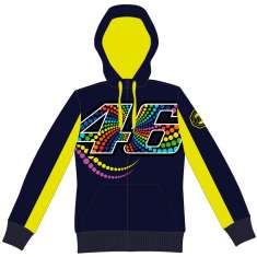 VR46 Dotted Fleece Hoodie - Blue Yellow