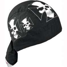Zan Headgear Flydanna Hat Bandana - Iron Cross Skull